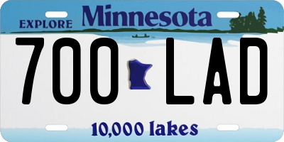 MN license plate 700LAD