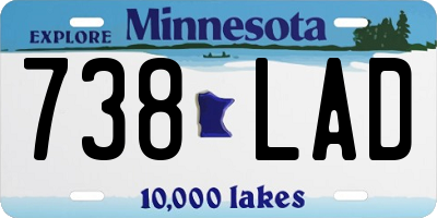 MN license plate 738LAD