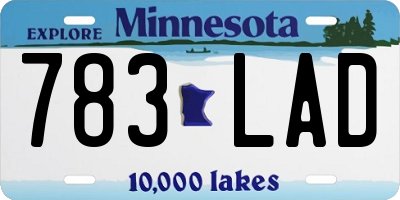 MN license plate 783LAD