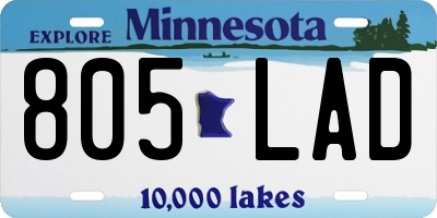 MN license plate 805LAD