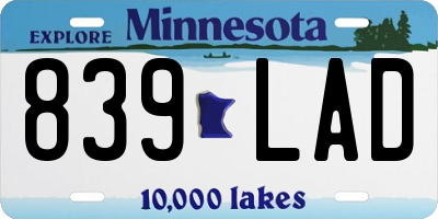 MN license plate 839LAD