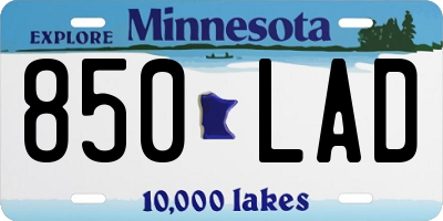 MN license plate 850LAD