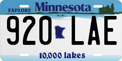 MN license plate 920LAE