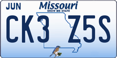 MO license plate CK3Z5S