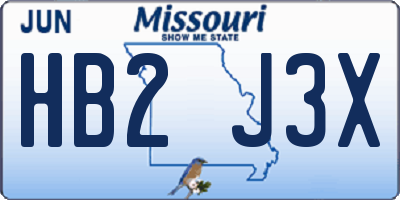 MO license plate HB2J3X
