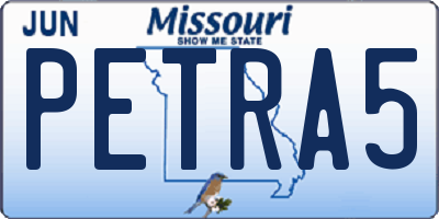 MO license plate PETRA5