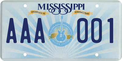 MS license plate AAA001