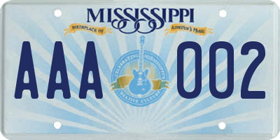 MS license plate AAA002