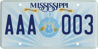 MS license plate AAA003