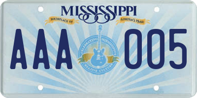 MS license plate AAA005