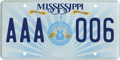 MS license plate AAA006