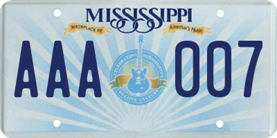 MS license plate AAA007