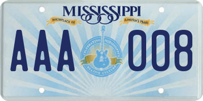 MS license plate AAA008