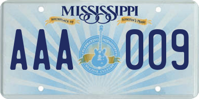 MS license plate AAA009