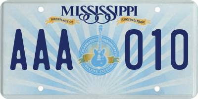 MS license plate AAA010