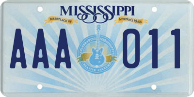 MS license plate AAA011