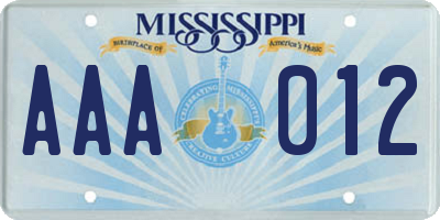 MS license plate AAA012