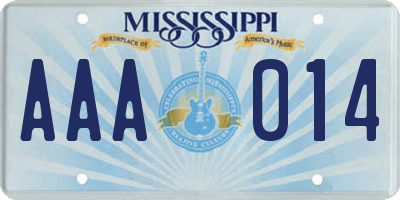 MS license plate AAA014