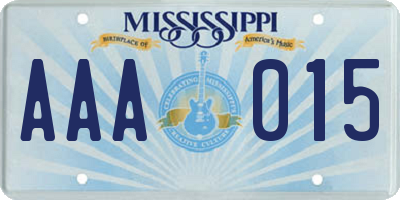 MS license plate AAA015