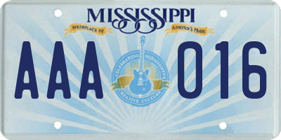 MS license plate AAA016