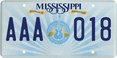 MS license plate AAA018