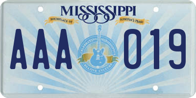 MS license plate AAA019