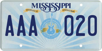 MS license plate AAA020