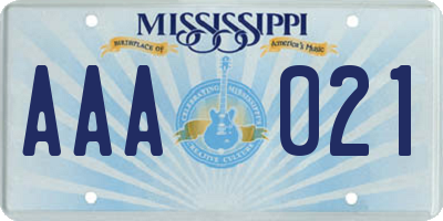 MS license plate AAA021
