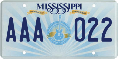 MS license plate AAA022