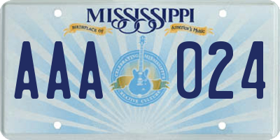 MS license plate AAA024