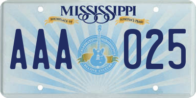 MS license plate AAA025