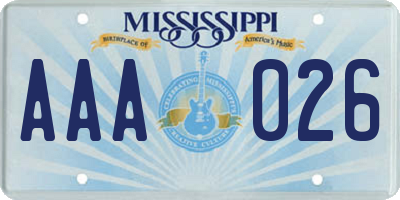 MS license plate AAA026