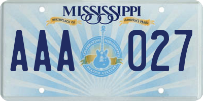 MS license plate AAA027