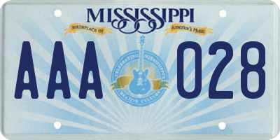 MS license plate AAA028