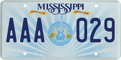 MS license plate AAA029