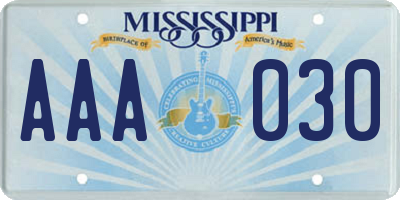 MS license plate AAA030