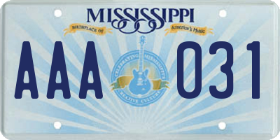 MS license plate AAA031