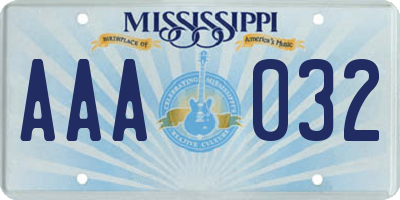 MS license plate AAA032