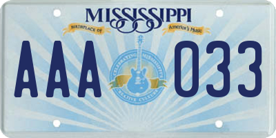 MS license plate AAA033