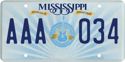 MS license plate AAA034