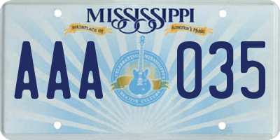 MS license plate AAA035
