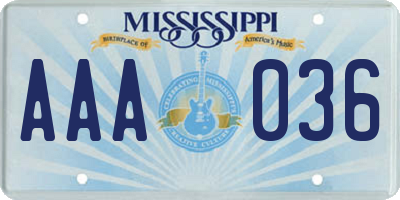 MS license plate AAA036