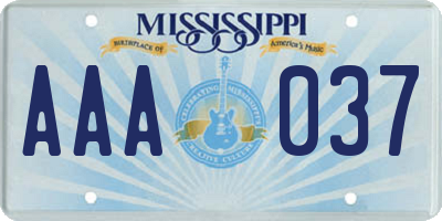 MS license plate AAA037