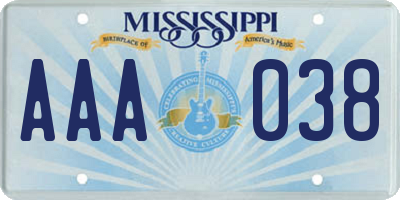 MS license plate AAA038