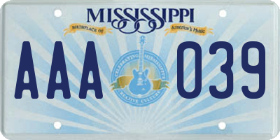 MS license plate AAA039