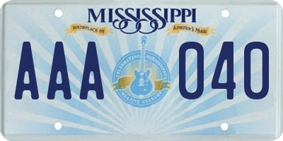 MS license plate AAA040
