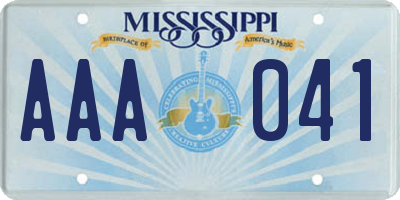 MS license plate AAA041