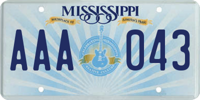 MS license plate AAA043