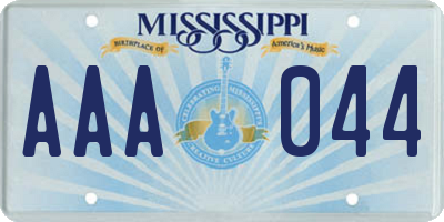 MS license plate AAA044