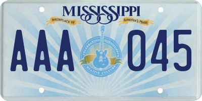 MS license plate AAA045